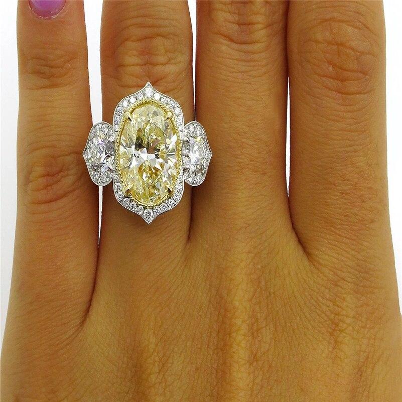 Silver S925 Color jewelry Ametrine Diamond Peridot Ring Bague topaz Anillo Oval for Women pierscionki Gemstone Bizuteria Ring