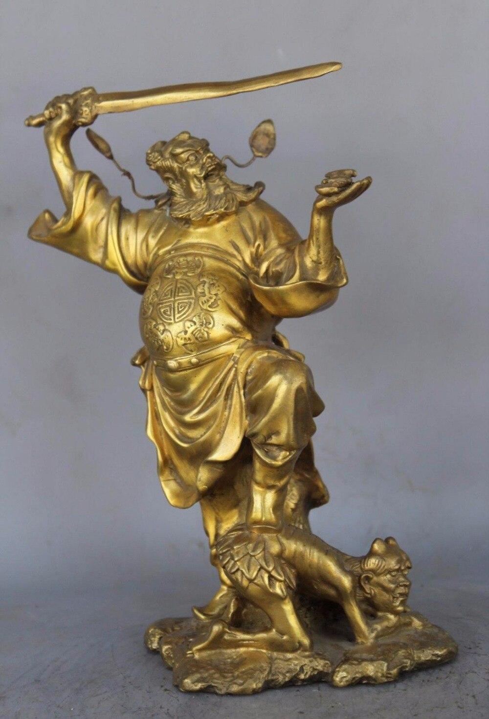 Chinese Pure Brass Zhong Kui ChungKuel God Catch Demon Devil Statue statue