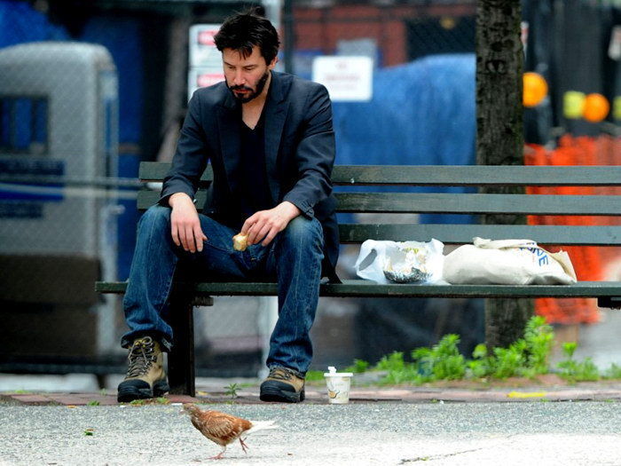 D0861 Keanu Reeves Lonely Bench Street-Print Silk Art Wall Poster legos for boys ninjago