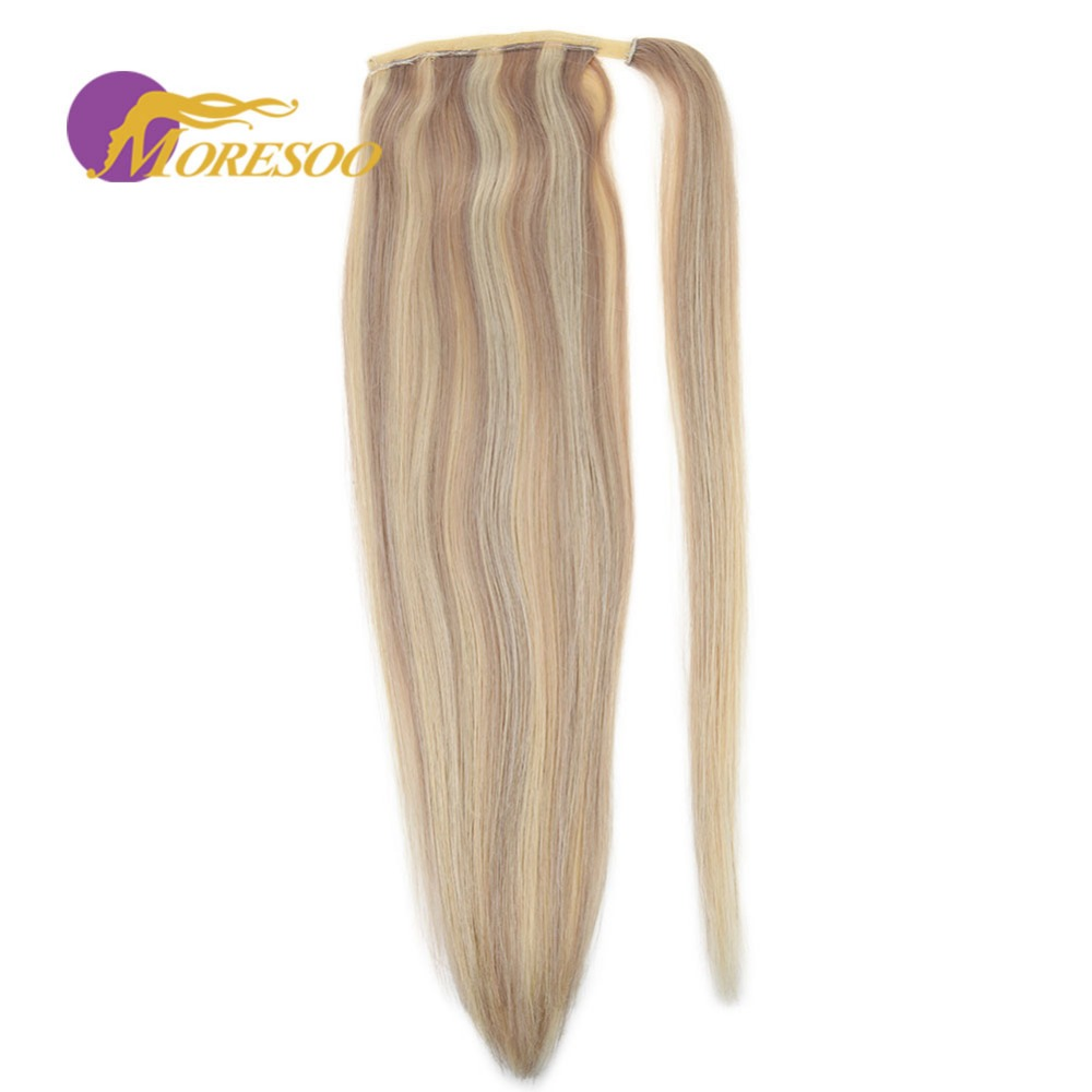 Moresoo Wrap Around Ponytail Machine Remy Human Hair Ash Blonde Highlight Blonde #P18/613 Straight Human Hair Ponytail 100g