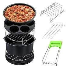 Горячее предложение! 8 шт., 8 дюймов, воздушная фритюрница, сковорода для жарки, тарелка для выпечки, подставка для пиццы, поднос, горшок, аксессуары, подходит для 5,2~ QT