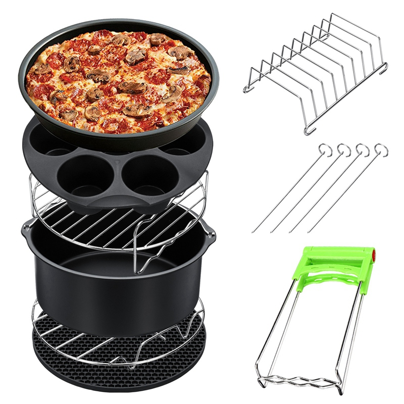HOT!8Pcs 8 Inch Air Fryer Frying Cage Dish Baking Pan Rack Pizza Tray Pot Accessories Fit For 5.2~5.8Qt