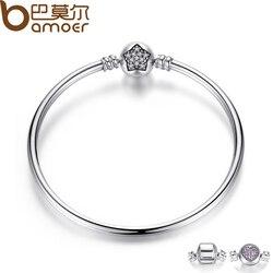 BAMOER Authentic 100% 925 Sterling Silver Snake Chain Bangle & Bracelet Pave Star Cubic Zirconia CZ Jewelry PAB001
