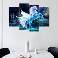 Laeacco Canvas Calligraphy Painting 4 Panel White Unicorn Animal Posters Prints Dreamy Wall Art Nordic Home Living Room Decor