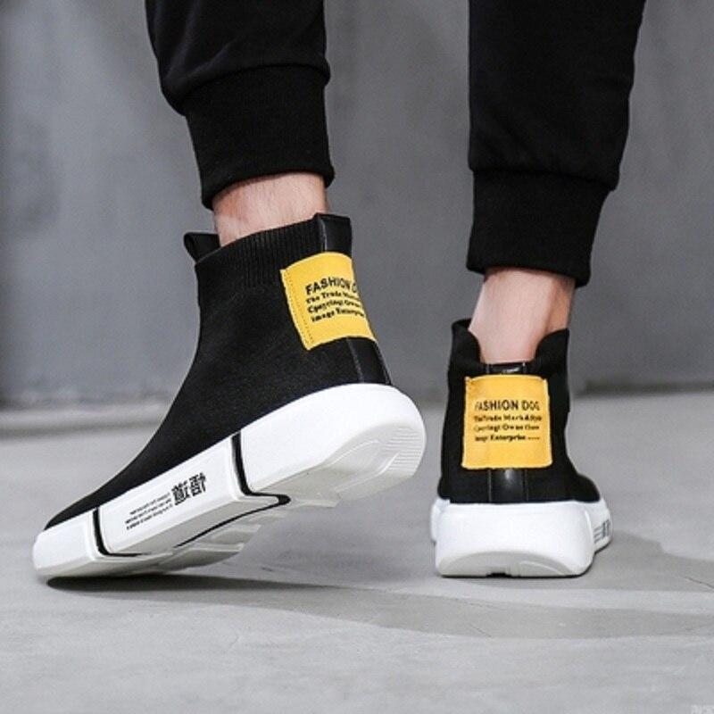Tête Chaussettes Aider Chaussures Pour Hommes Sauvage Décontractées Haute Ronde De Noir Jeunes Mode Coréen mNv80yOnw