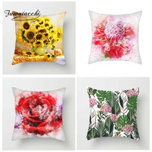 Fuwatacchi Flower Cushion Cover Sunflower Rose Dandelion Floral  Decorative Pillows Home Decoration Accessories For Sofa