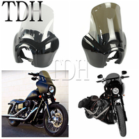 Motorcycle Retro Front Headlight Fairing Clear/Smoke Windshield Deflector Hardware Kit For Harley Dyna Fat Bob FXDXT FXR 87 2017