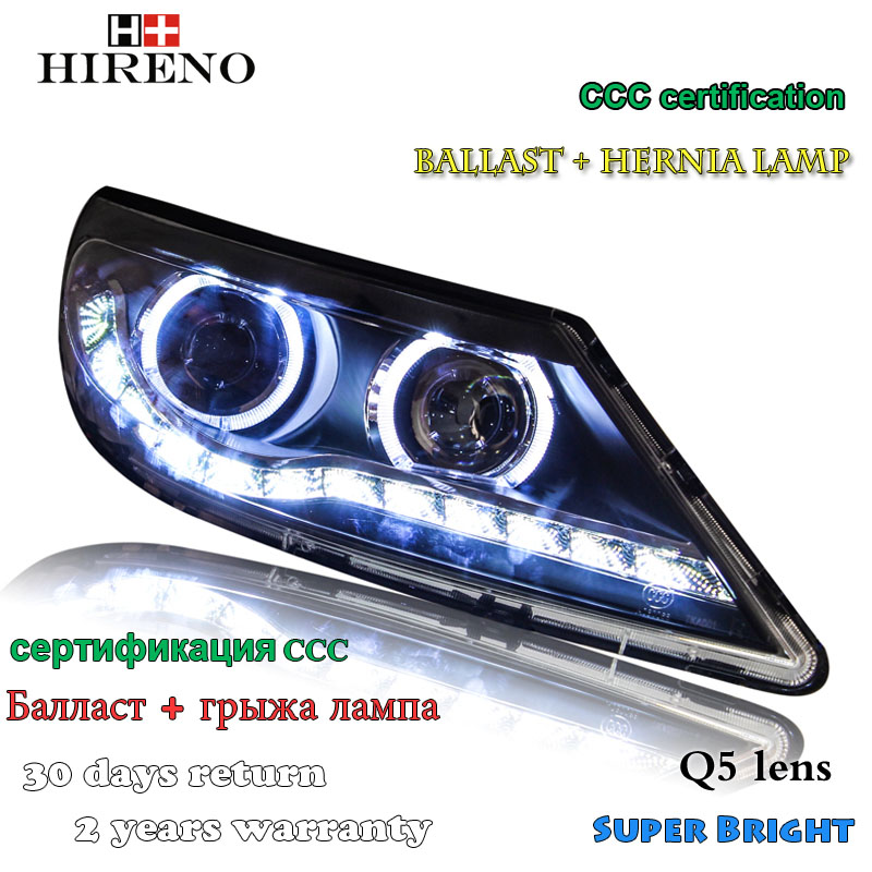 Hireno Headlamp for 2010-2012 KIA Sportage R Headlight Assembly LED DRL Angel Lens Double Beam HID Xenon 2pcs 2pcs purple blue red green led demon eyes for bixenon projector lens hella5 q5 2 5inch and 3 0inch headlight angel devil demon
