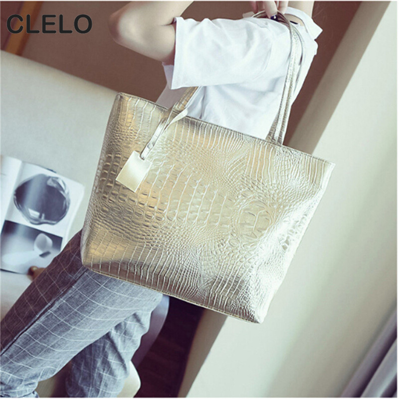 CLELO Fashion Designer Womens Pu Leather Handbags Alligator Bag Female Large Shool Bags Portable Shopping Totes sac a main