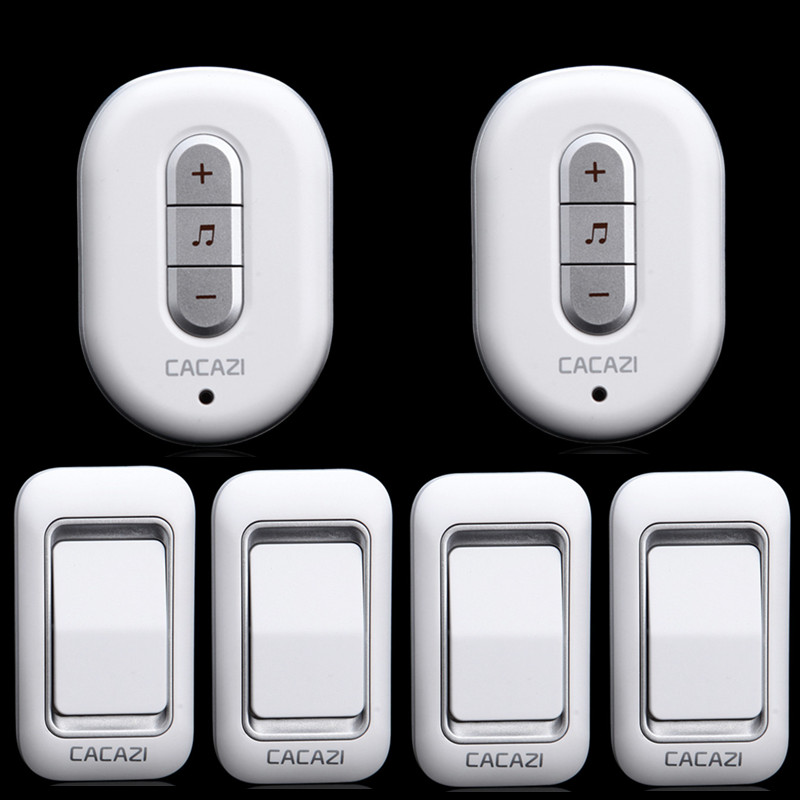 4 transmitter+2 receiver  High Quality IP44 Waterproof 300m Wireless Doorbell With 48  Chimes Home Smart Alarm Push Button