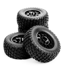 RC 1:10 Short Course Truck Tires Set Tyre Wheel Hub 4 pcs/Set For Traxxas Slash HPI Car Parts & Accssory 4pcs set truck bead lock tire wheel rims for traxxas slash rc 1 10 short course car parts 30005