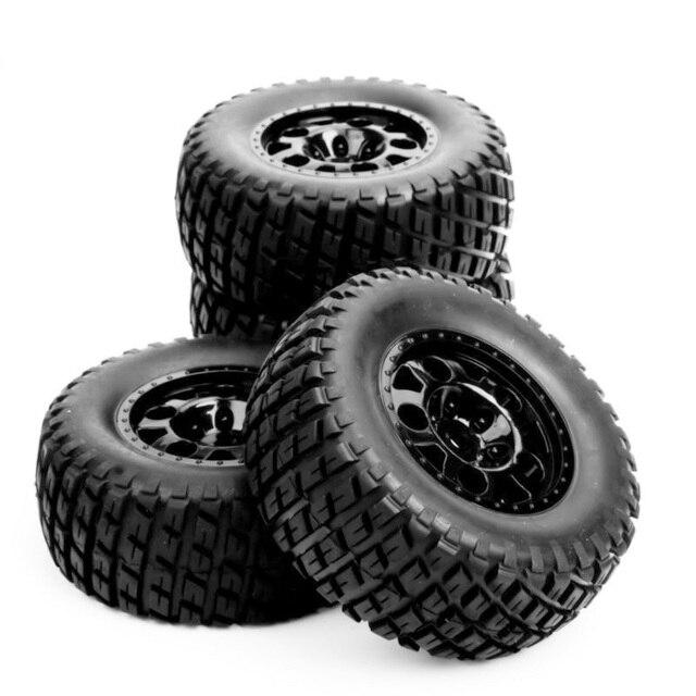 Rc Wiel 1:10 Korte Baan Truck Banden Set 1/10 Tyre Wheel Hub 4 stks/set Voor Traxxas Slash Banden HPI op de veld Auto Onderdelen
