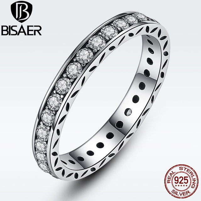 Simple Round Rings for Women Crystals Original 925 Sterling Silver Finger Ring A