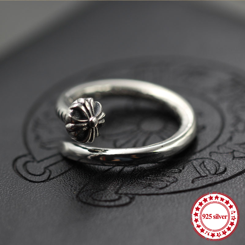 s925 sterling silver men's ring jewelry vintage personality unique hip hop nails punk style couple open ring send lover's gift