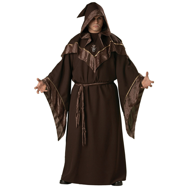 Monk Robe Religious Godfather Wizard Costume Adult Men Wizard ...