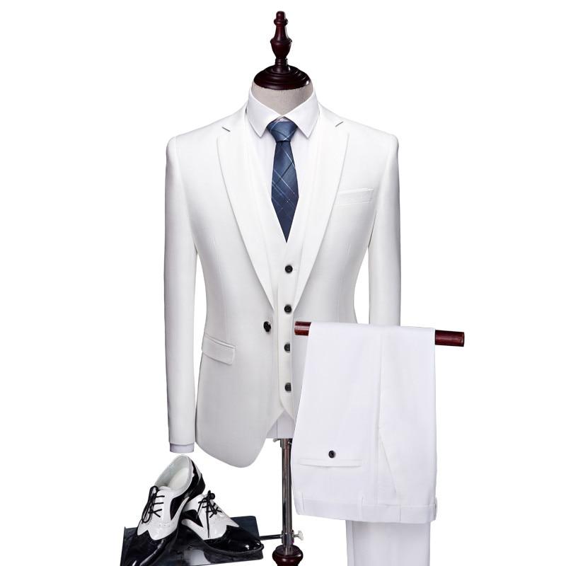 (Пиджаки + жилет + брюки) Для мужчин slim fit высокое качество хлопковые костюмы/Для мужчин s жениха выйти замуж торжественное платье блейзеры/color...