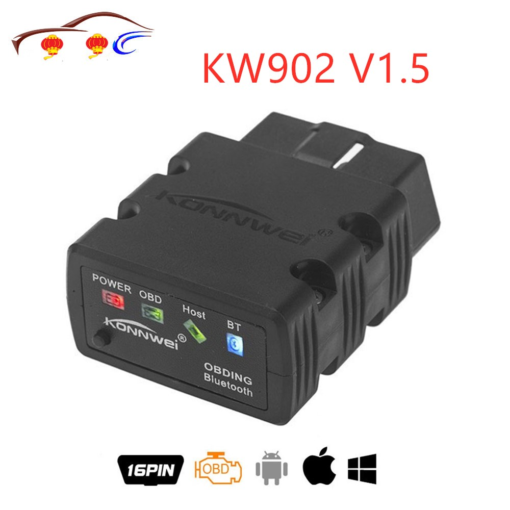 New Konnwei KW902 <font><b>ELM327</b></font> <font><b>V1.5</b></font> Bluetooth / <font><b>Wifi</b></font> <font><b>OBD2</b></font> OBDII CAN-BUS Diagnostic Car Scanner Tool Works on iOS iPhone Android Phone image