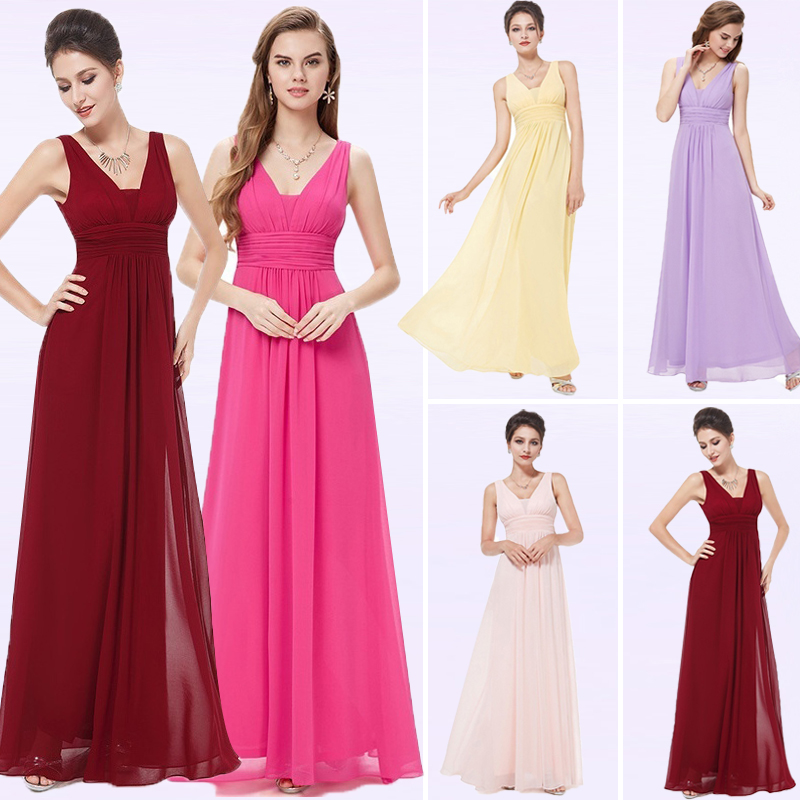 Robe De Soiree Formal   Evening     Dresses   Ever Pretty EB20118 Elegant Deep V-neck Ruched Bodice Long Wedding Guest Party Gowns 2018