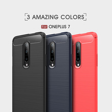 Conelz For Oneplus 7/7 Pro Case Oneplus 6T Case Shockproof Case Wiredrawing Brushed Carbon Fiber TPU Cover Protective Shell