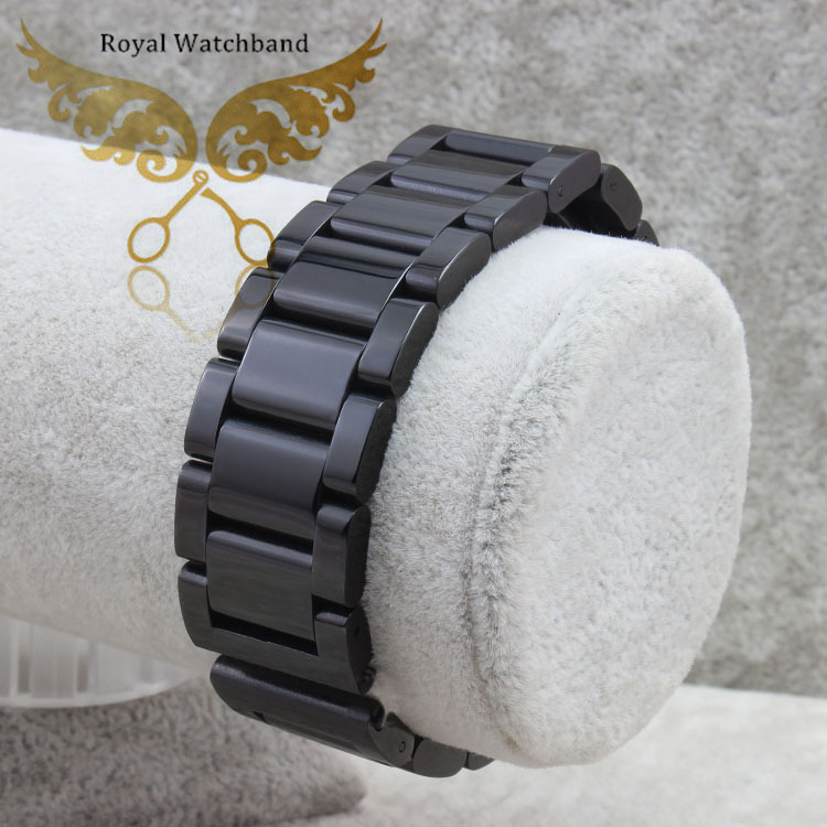 New Arrival 22mm Top Grade Black Stainless Steel Watch Band Double Push Buckle/Clasps Strap Bracelet For Watches Free Shipping
