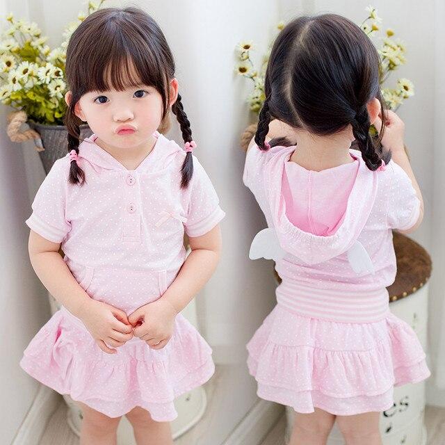 LittleSpring de Volta Elegante Polka Dot Design de Asa Hoodies Meninas de Manga Curta Definir a roupa dos miúdos crianças roupas meninas conjunto de roupas