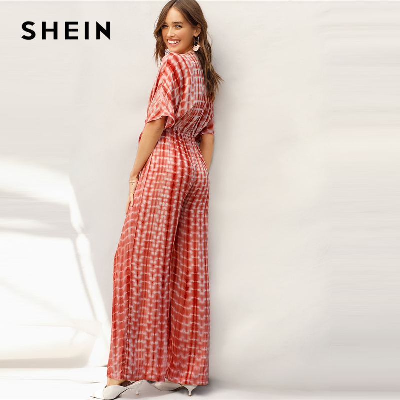 SHEIN Rust Plunging Neck Knot Front Tie Dye Palazzo Jumpsuit Spring Deep V Neck Solid High Waist Maxi  Wide Leg Jumpsuits 2
