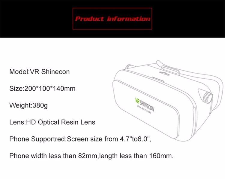 Original VR Shinecon Virtual Reality VR Box 3D VR Glasses Game BOX Google board For 4.0-6.0 Inch smartphone 13