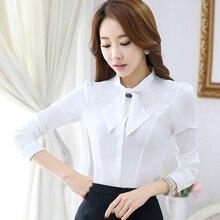 Women Bow Tie Blouse Fashion 2016 Autumn Long Sleeve Chiffon blusa Tops Korean Style Female Office ruffle Shirts Elegant Design