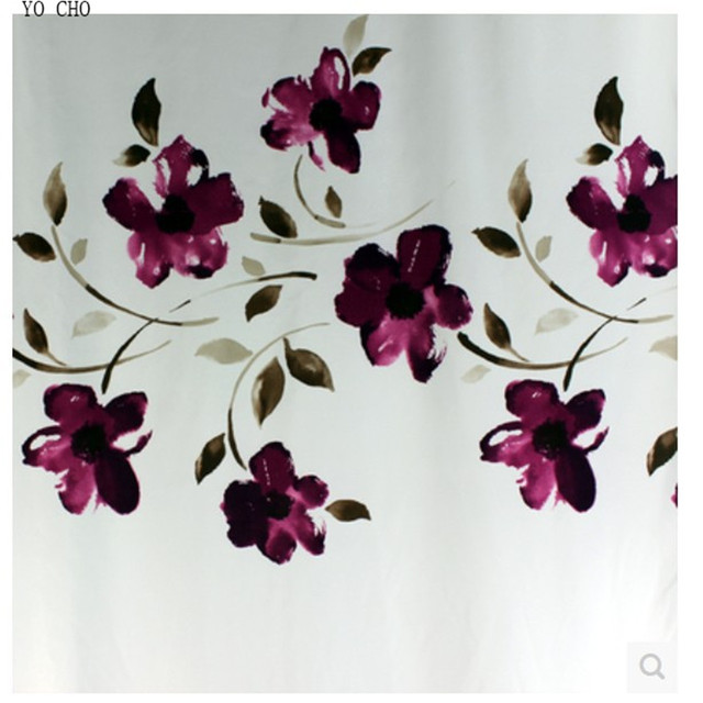 Ink Purple Orchid High Grade Bathroom Polyester Shower Curtain Waterproof Mildew Thickened