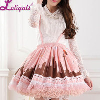 Modern Lovely Pink Pleated Lady's Lolita Lace Jumper Skirt Free Shipping