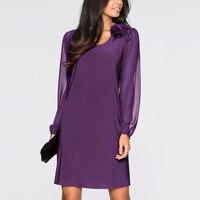 New Arrival Womens Cute Loose Purple Lantern Sleeve O Neck Knee Dress Plus Size 3XL Party
