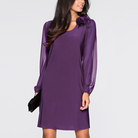 New Arrival Womens Cute Loose Purple Lantern Sleeve O Neck Knee Dress Plus Size 3XL Party