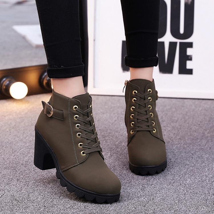 Women shoes Female boots winter heel platform air bottine leather chaussure waterproof zip Hard Outsole