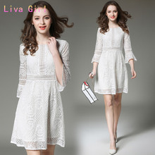Liva girl Spring and summer high-end dress new women's clothing in Europe and United States lace stitching horn sleeve dress