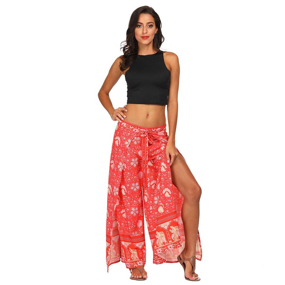 Bohemia Style 3D Print Flower Pattern Print Women Bandage Wide Leg High Split Summer Spring Elastic Waist Long Loose Trousers