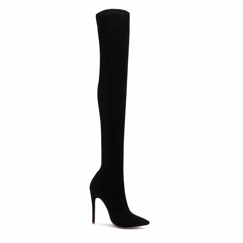 COCOAFOAL Kış kadın Diz Çizmeler Üzerinde Kadın Uyluk Yüksek Çizmeler Sonbahar Moda Siyah Artı Boyutu 43 44 Kadınlar yüksek topuklu ayakkabılar