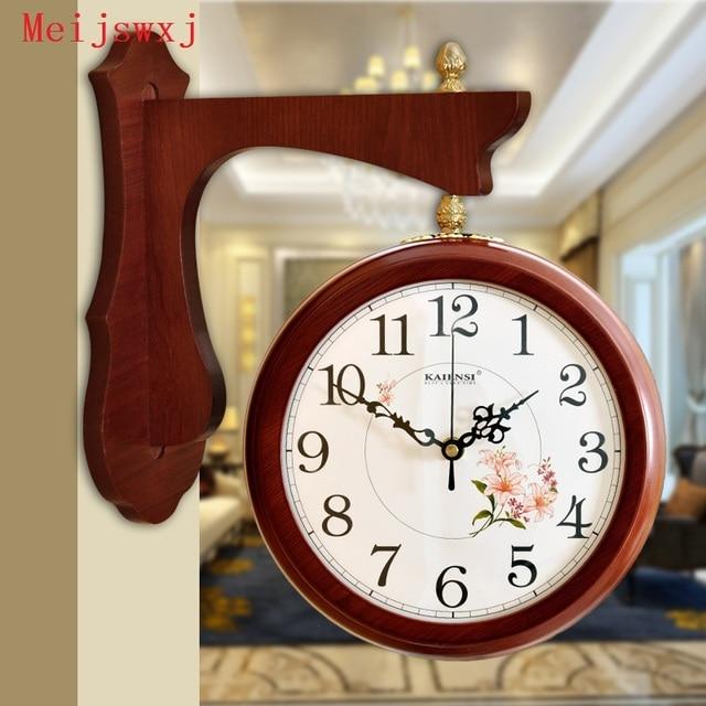 meijswxj doublesided wall clock saat reloj mute wood clock relogio de parede duvar saati