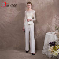 Liyatt 2018 Lace Mother of the Bride Pants Suit Sheath Long Sleeve Elegant Boat Neck Women Formal Evening Party Gown