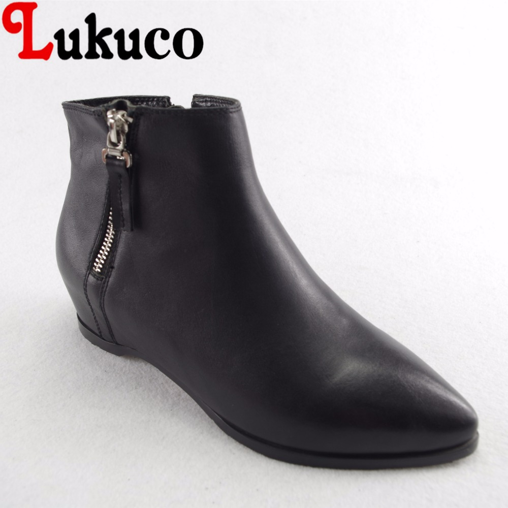 Lukuco cool pure color women pointed toe motorcycle boots microfiber made zip design shoes with pigskin inside lukuco pure color women mid calf boots microfiber made buckle design low hoof heel zip shoes with short plush inside