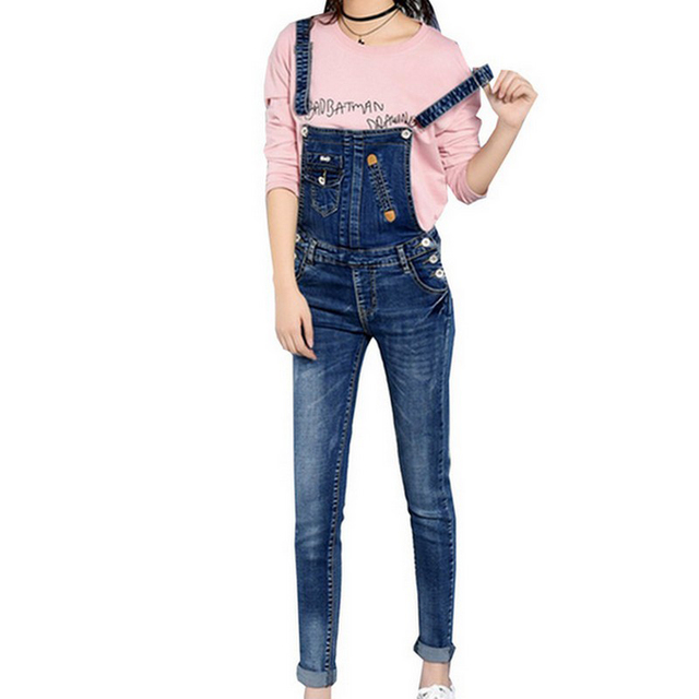 c8ab28b5e40b2 Retro Style Denim Jumpsuit Slim Women Pencil Jeans Overalls Casual Big Size  Adjustable Strap Rompers 2017 Summer Jumpsuits