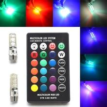 Фотография 2Pcs T10 Silica Gel RGB w5w LED with Remote Controller RGBW 501 194 168 6SMD 5050 Strobe Car Wedge Side Light DC 12V Car Bulbs