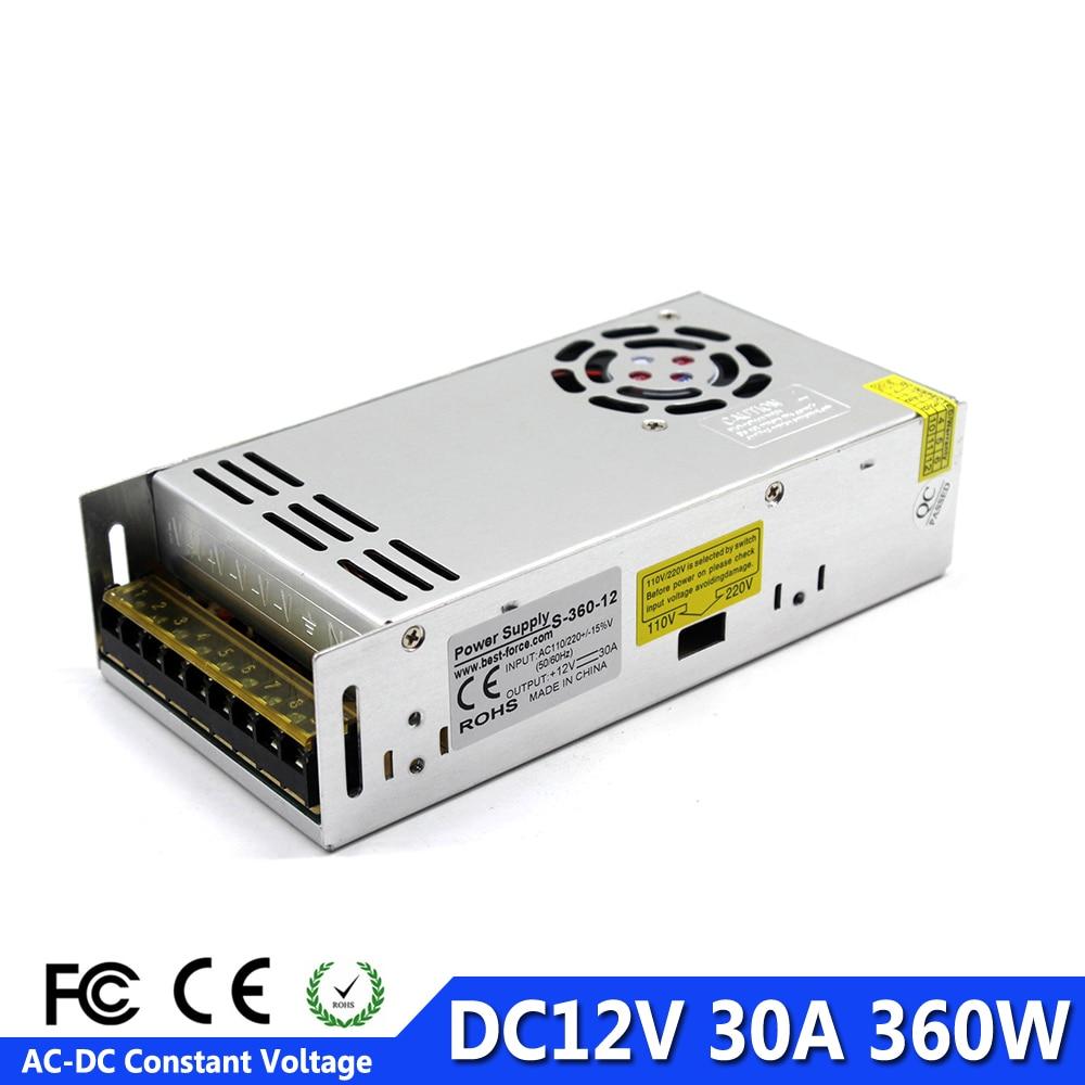 12 V 30 A 360 W DC Switch Power Supply Driver adaptateur Bande DEL Lumière closed-circuit caméra de télévision