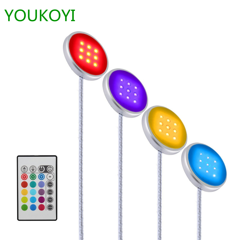 RGB LED Puck Lights LED Bar 12V Under Cabinet Lighting Kit for Kitchen Closet Shelf Decoration