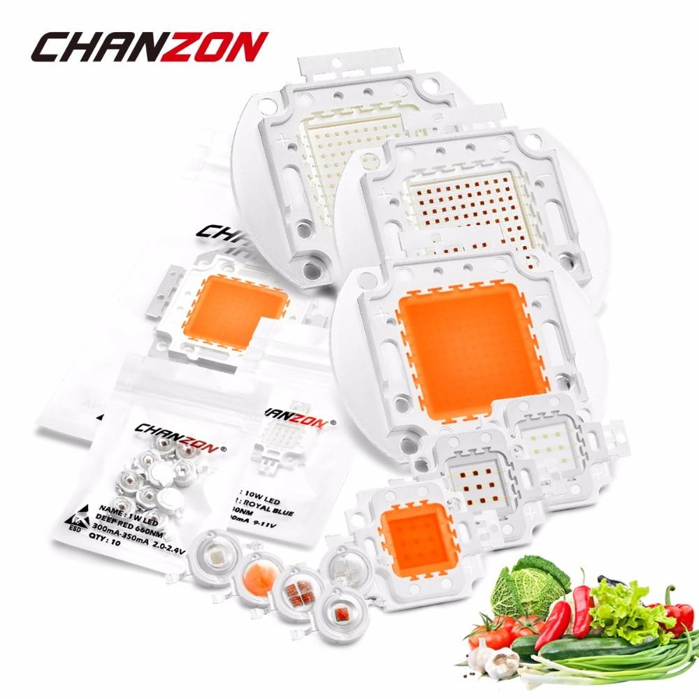 Chip LED de alta potencia, espectro completo, Azul Real, 440nm, 660nm, 1W, 3W, 5W, 10W, 20W, 30W, 50W, 100W, 660 nm, para cultivo de plantas