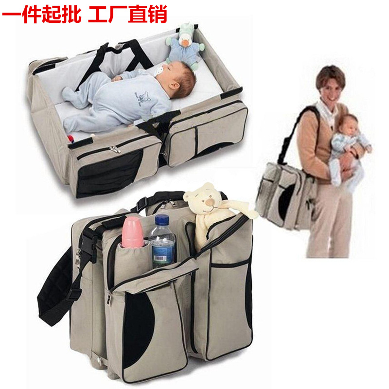 ФОТО Mother Basket Portable Nappy New Multifunctional Mummy Bag Baby Bed Package Large Capacity Travel Bag 80X40X20 V-0344