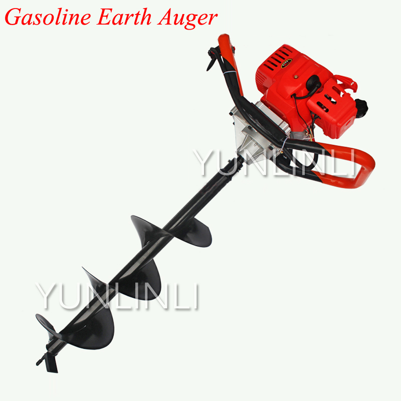 52CC Gasoline Earth Auger High Power Two Stroke Gasoline Hole Drilling Machine For Garden Tools powerful 82cc hole digging tools earth auger drilling machine heavy duty digging hole auger anchor
