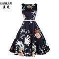 Lanlan peony impresión floral sin mangas de punto 50 s columpio dress plus size dress con cinturón 2017 de las mujeres del verano audrey hepburn de la vendimia vestidos