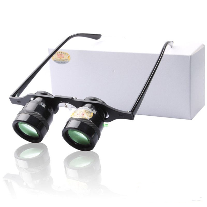 Bijia Fishing Glasses 10X Magnifying Loupe Binoculars Green Film HD Magnifier For Hiking Concert Watching Sport With Box