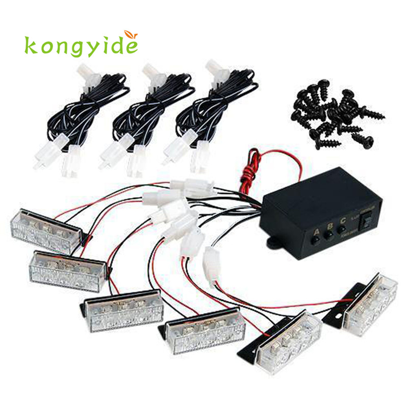 Car light 12V 18 LED White Strobe Emergency Flashing Grill Light emergency light drop shipping may2