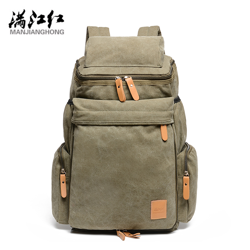 Manjianghong 328 Promotion Canvas Bag Man's Backpack School Bag High Quality Big Capacity Travel Men Bag 1123 big capacity high quality canvas shark double layers pen pencil holder makeup case bag for school student with combination coded lock